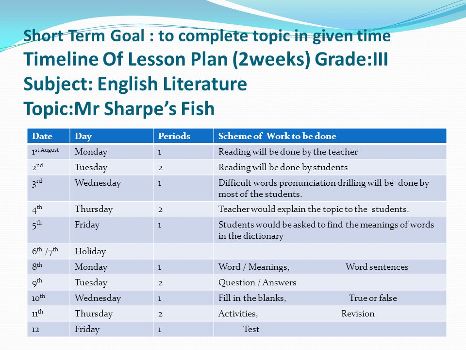 Short Term Goal : to complete topic in given time Timeline Of Lesson Plan (2weeks) Grade:III Subject: English Literature Topic:Mr Sharpe's Fish