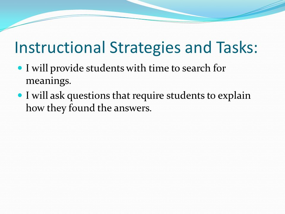 Instructional Strategies and Tasks: