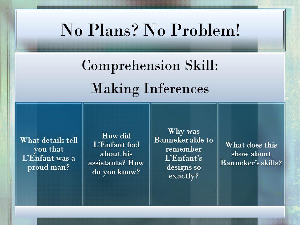 No Plans No Problem! Comprehension Skill: Making Inferences