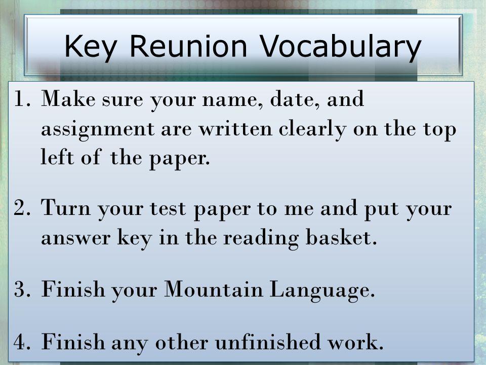Key Reunion Vocabulary