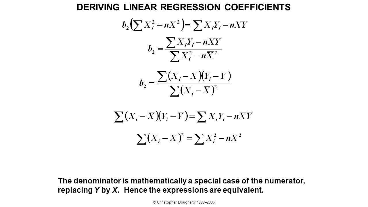 DERIVING LINEAR REGRESSION COEFFICIENTS