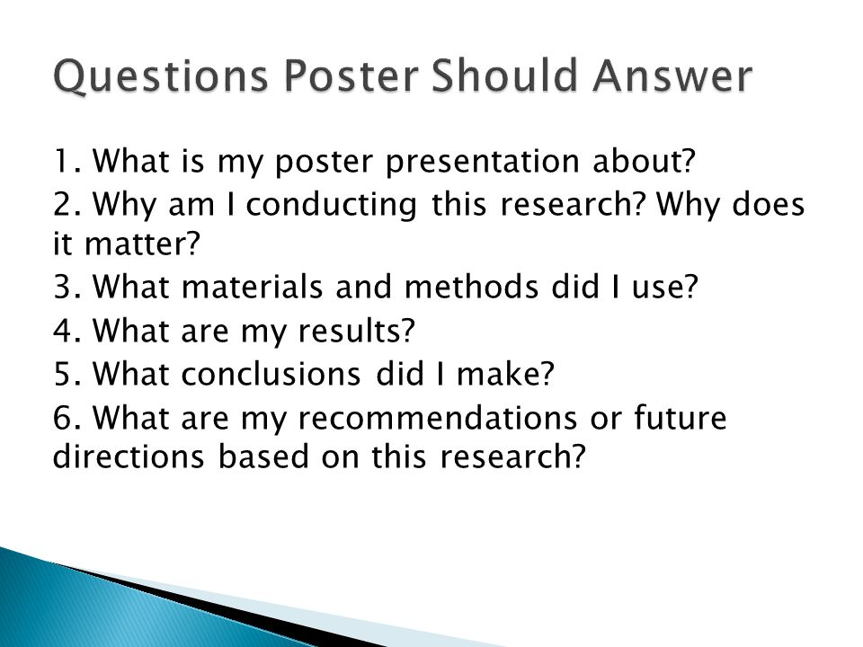 Questions Poster Should Answer