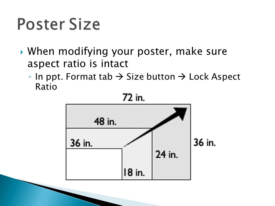 Poster Size When modifying your poster, make sure aspect ratio is intact.