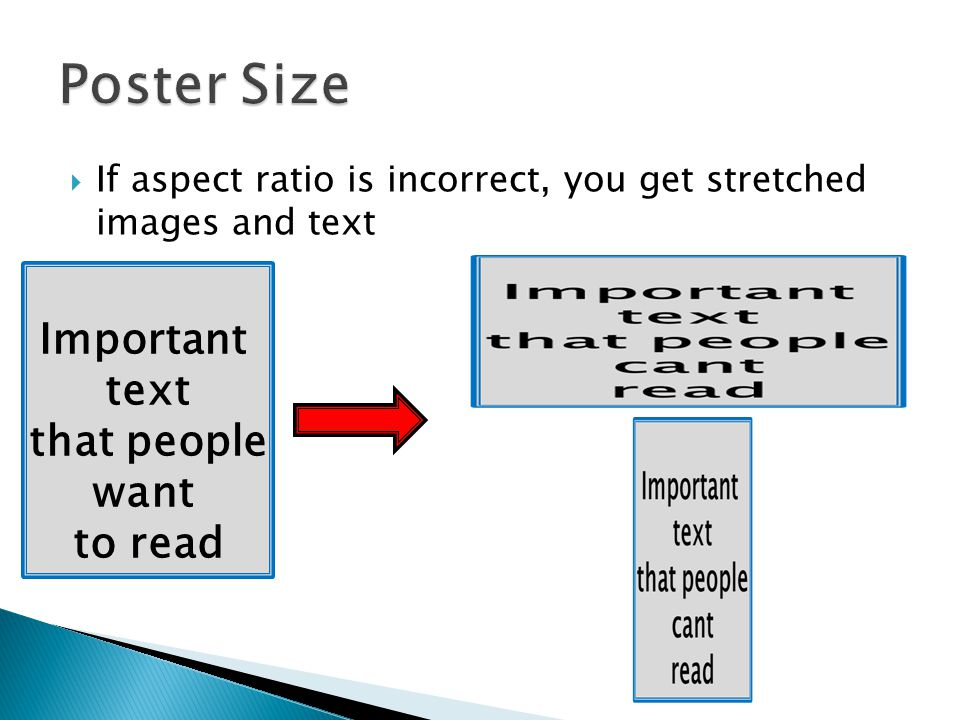 Poster Size Important text that people want to read