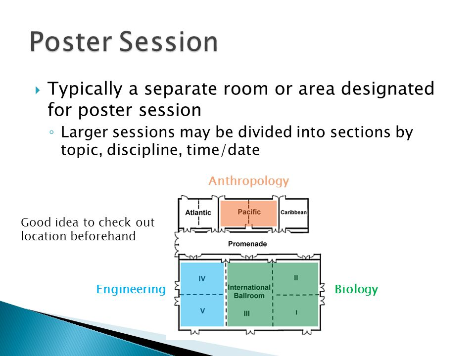 Poster Session Typically a separate room or area designated for poster session.