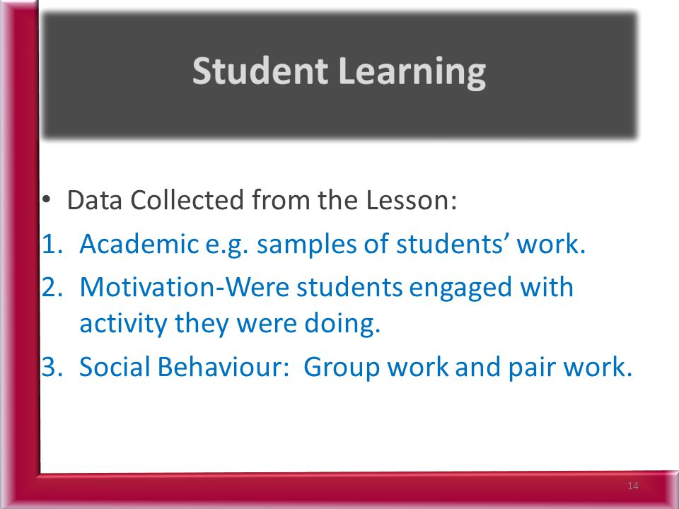 Student Learning Data Collected from the Lesson: