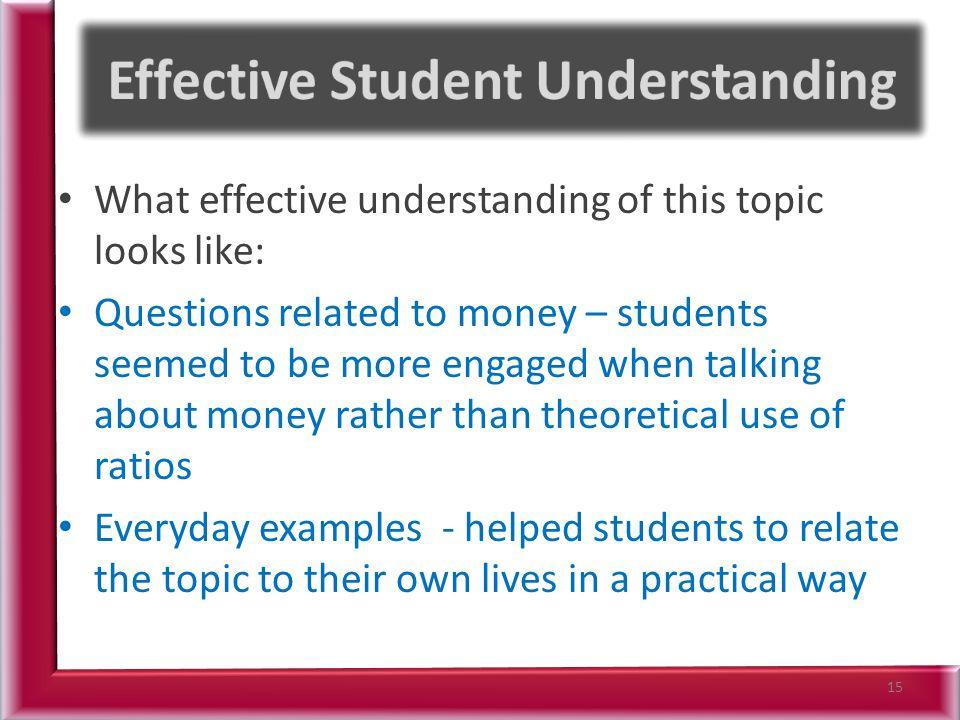 Effective Student Understanding