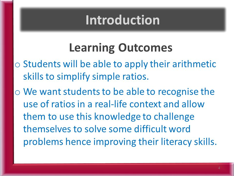 Introduction Learning Outcomes