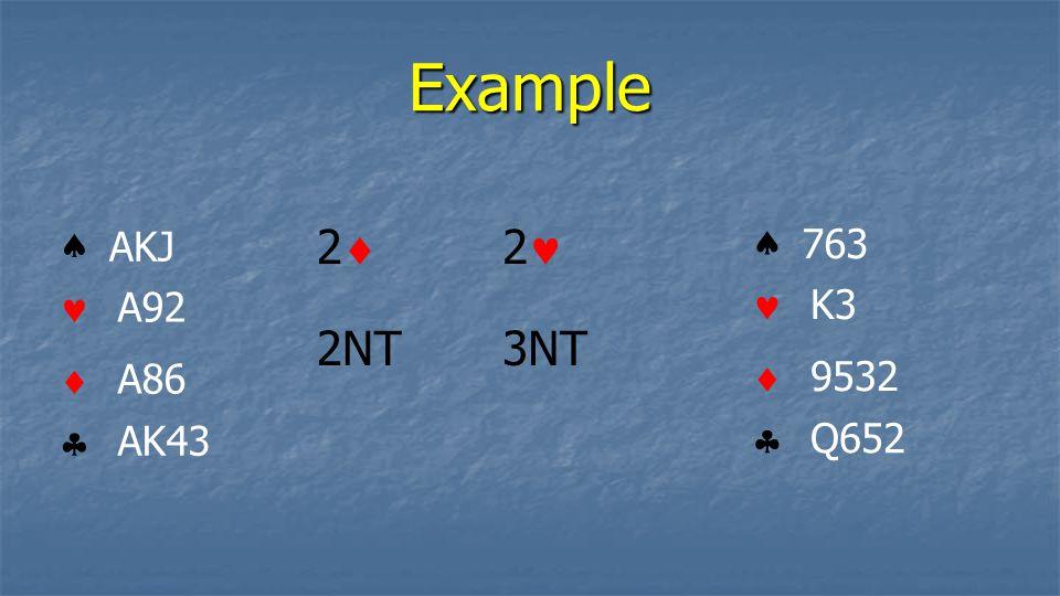 Example 2 2 2NT 3NT     AKJ A92 A86 AK43     763 K3 9532