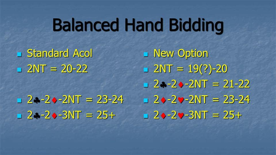Balanced Hand Bidding Standard Acol 2NT = 20-22 2-2-2NT = 23-24