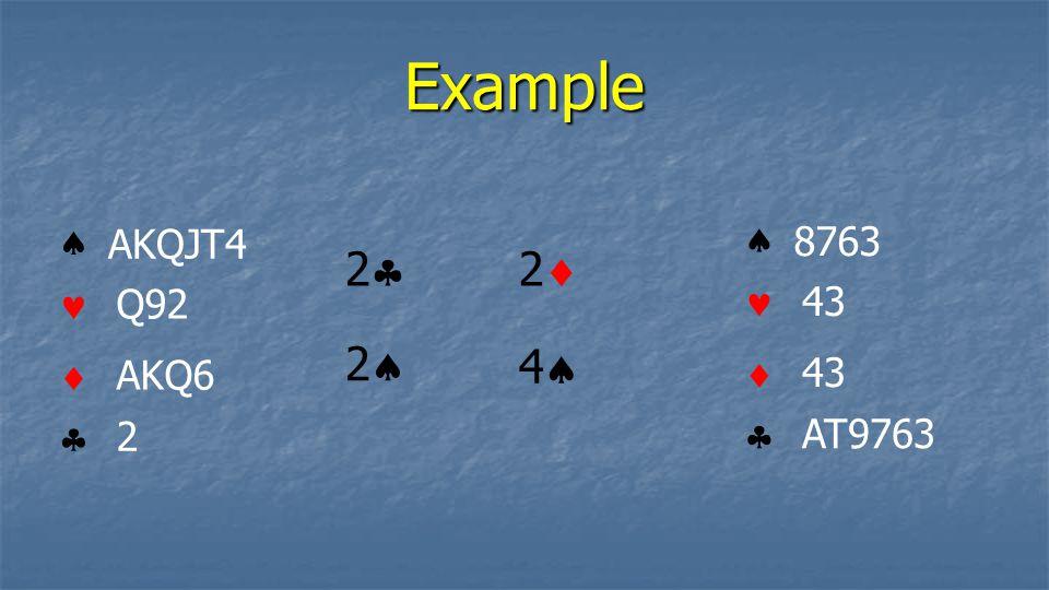 Example     AKQJT4 Q92 AKQ6 2     8763 43 AT9763 2 2 2 4