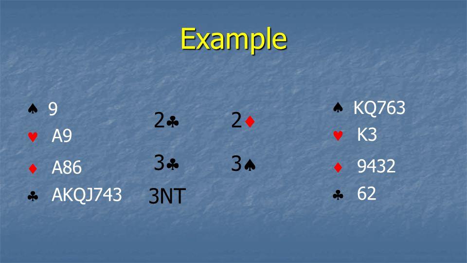 Example 2 2 3 3 3NT     9 A9 A86 AKQJ743     KQ763 K3 9432