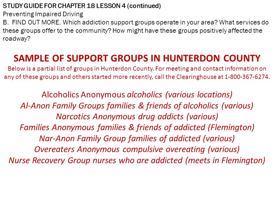 SAMPLE OF SUPPORT GROUPS IN HUNTERDON COUNTY