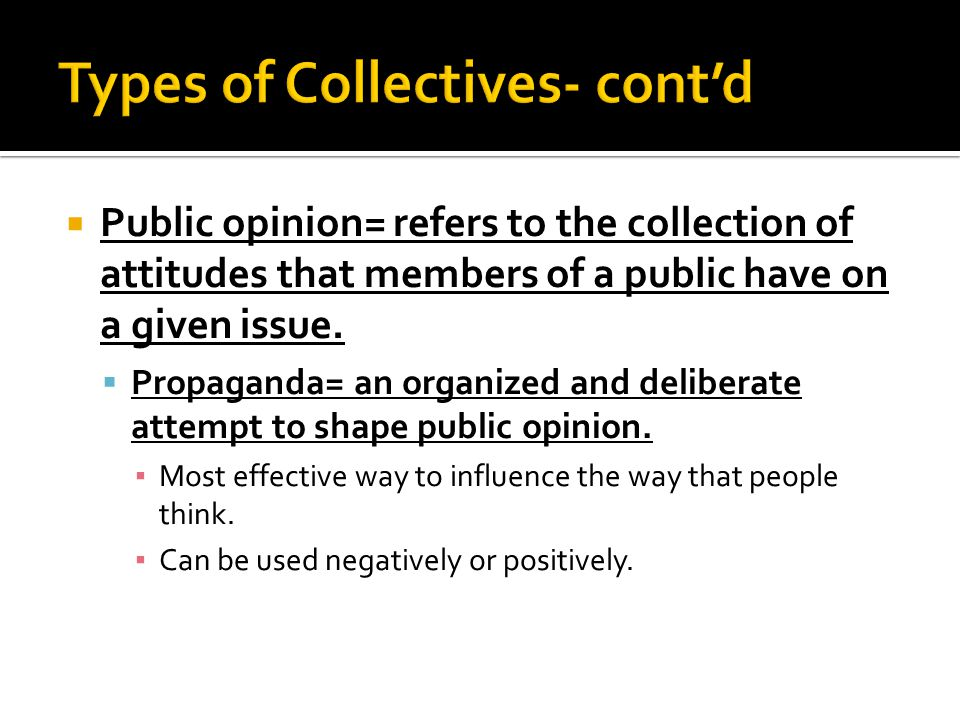 Types of Collectives- cont'd