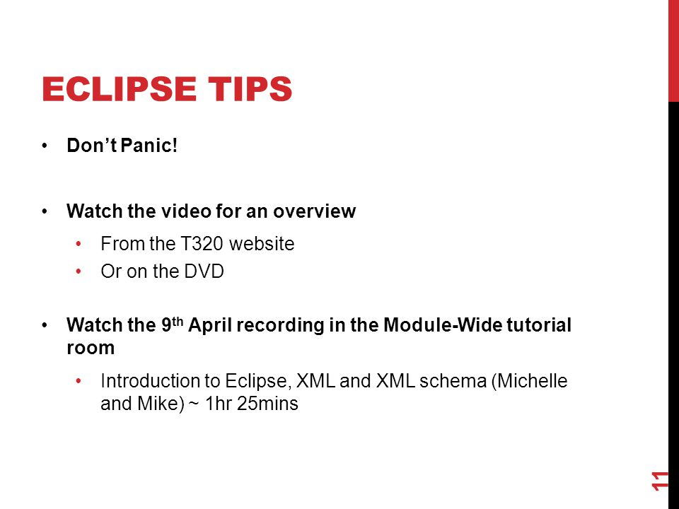 Eclipse Tips Don't Panic! Watch the video for an overview