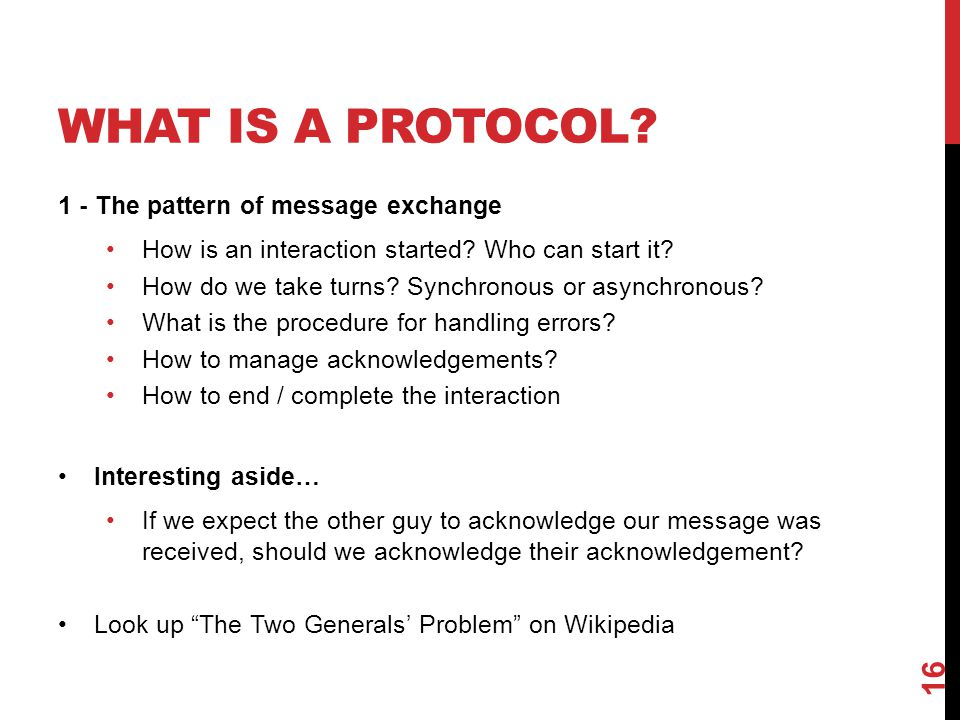 What Is a Protocol 1 - The pattern of message exchange