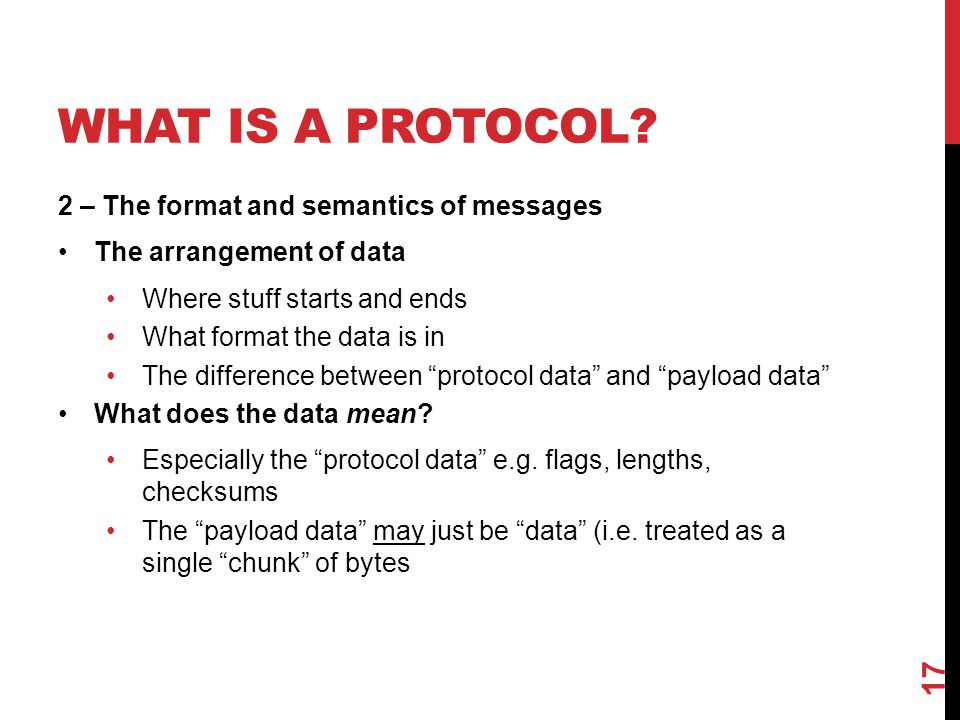 What Is a Protocol 2 – The format and semantics of messages