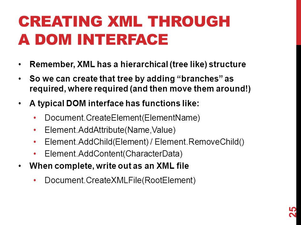 Creating XML through a dom interface