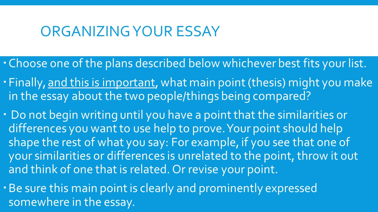 organizing your essay Choose one of the plans described below whichever best fits your list.
