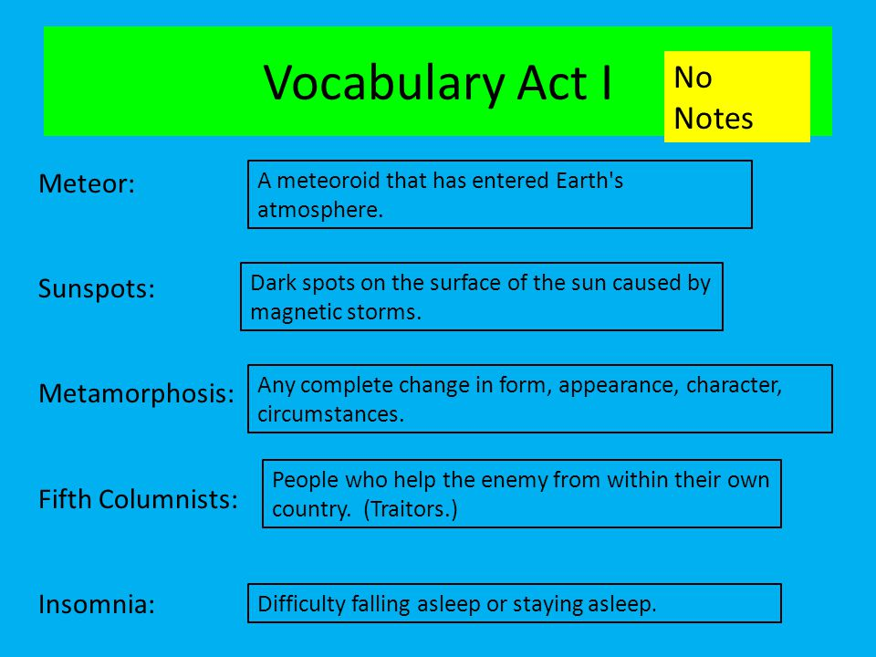 Vocabulary Act I No Notes Meteor: Sunspots: Metamorphosis:
