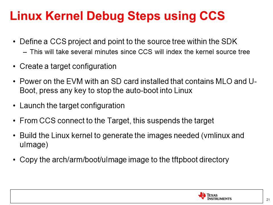 Linux Kernel Debug Steps using CCS