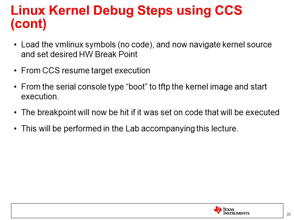 Linux Kernel Debug Steps using CCS (cont)