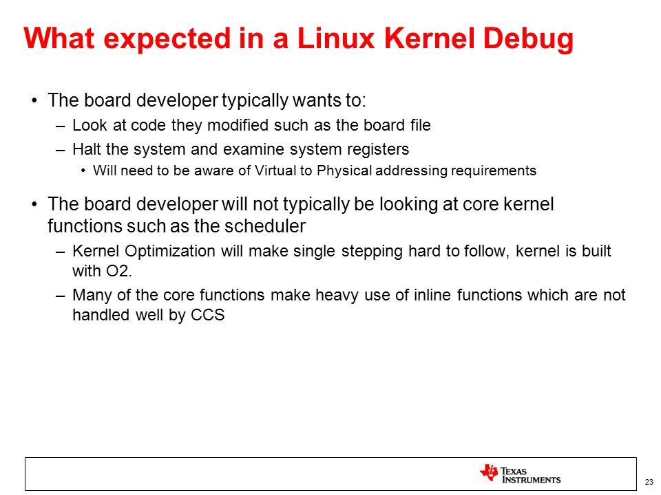 What expected in a Linux Kernel Debug