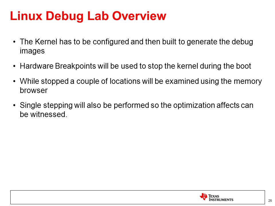 Linux Debug Lab Overview