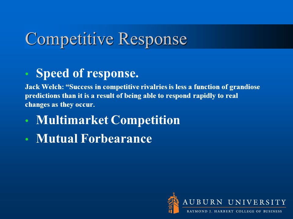 Competitive Response Speed of response. Multimarket Competition