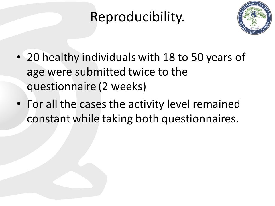Reproducibility. 20 healthy individuals with 18 to 50 years of age were submitted twice to the questionnaire (2 weeks)