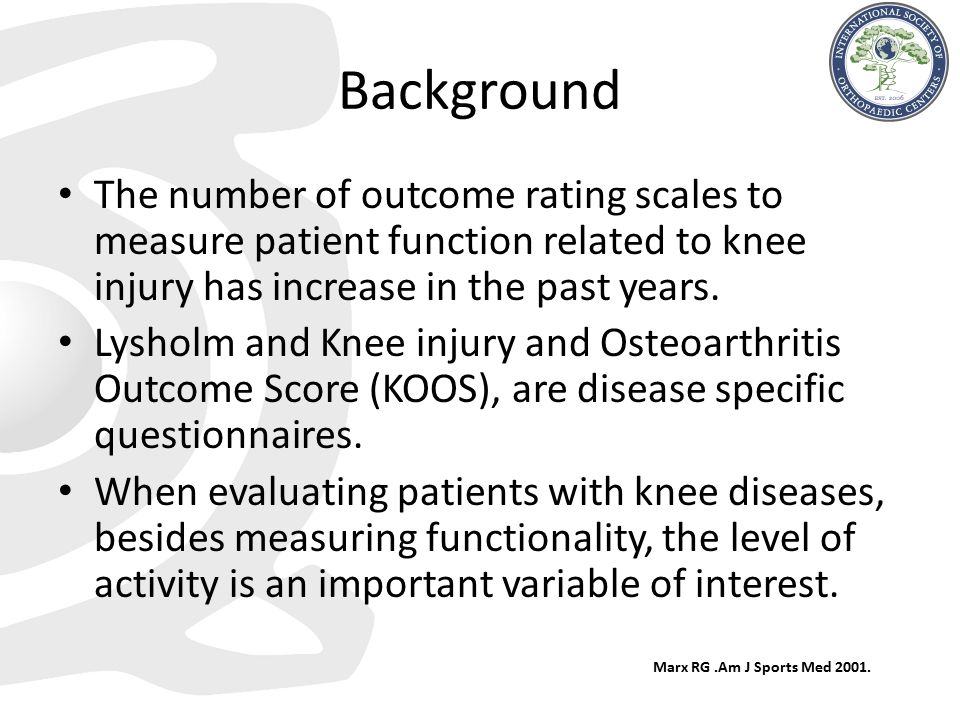 Background The number of outcome rating scales to measure patient function related to knee injury has increase in the past years.