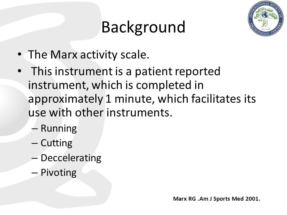 Background The Marx activity scale.