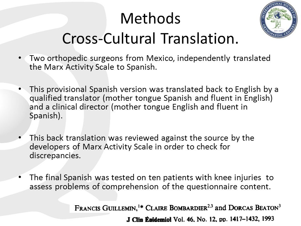 Methods Cross-Cultural Translation.