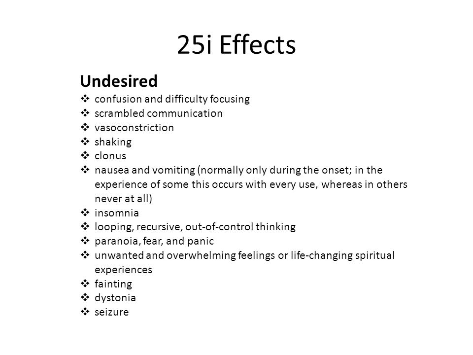 25i Effects Undesired confusion and difficulty focusing