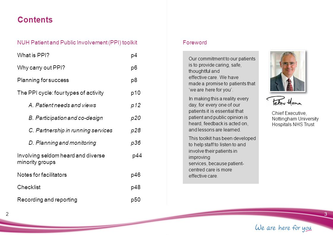Contents NUH Patient and Public Involvement (PPI) toolkit Foreword
