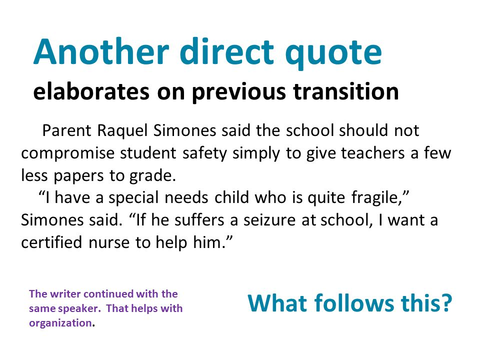 Another direct quote elaborates on previous transition