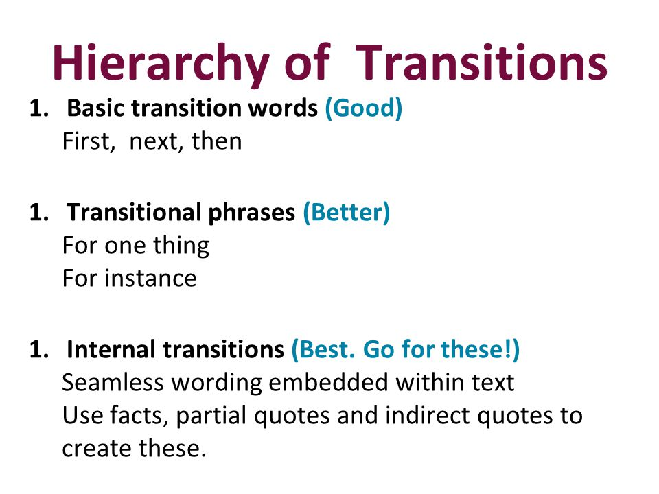 Hierarchy of Transitions