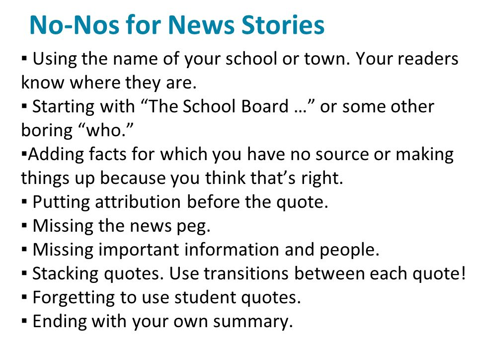 No-Nos for News Stories