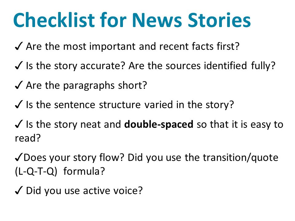 Checklist for News Stories