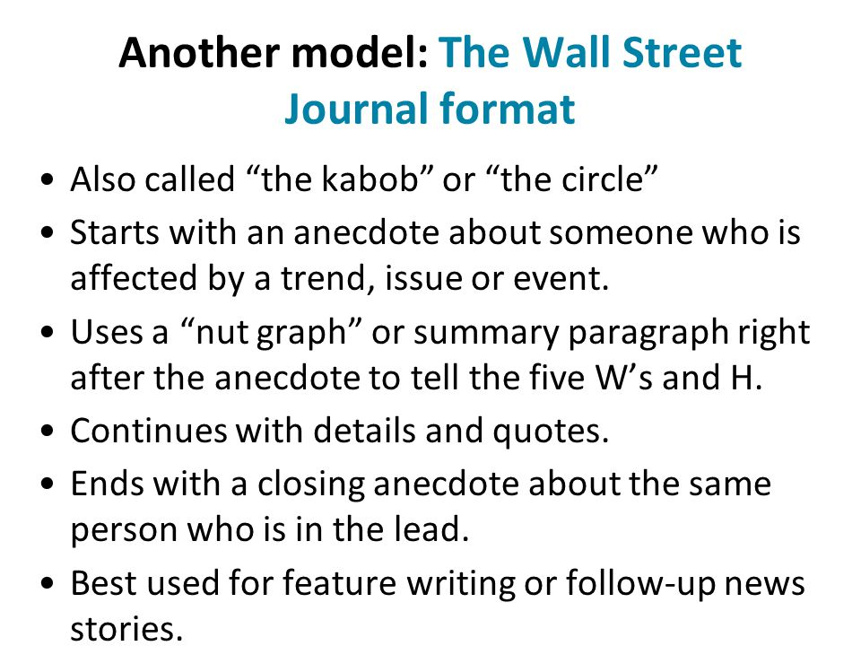 Another model: The Wall Street Journal format