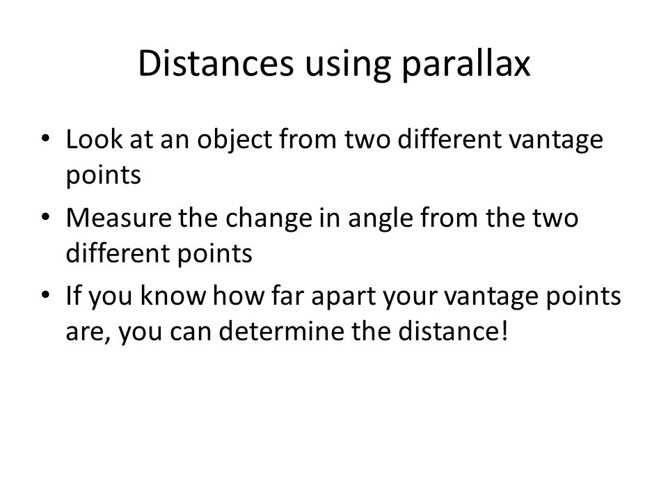 Distances using parallax