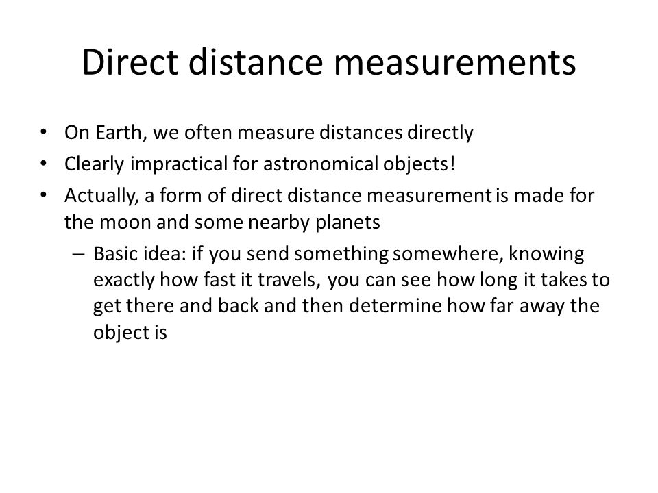 Direct distance measurements