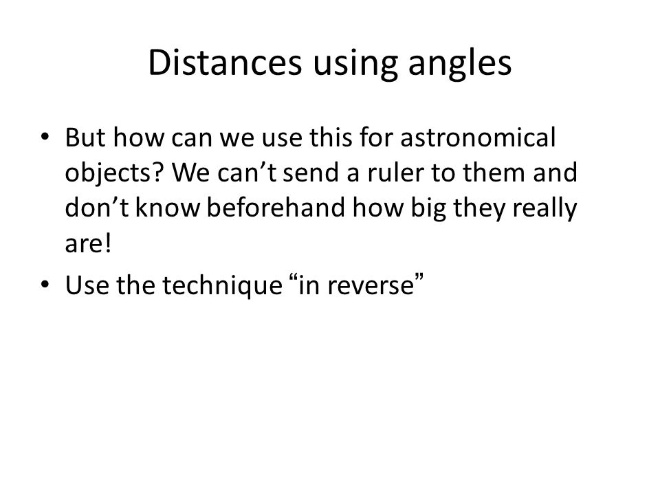 Distances using angles