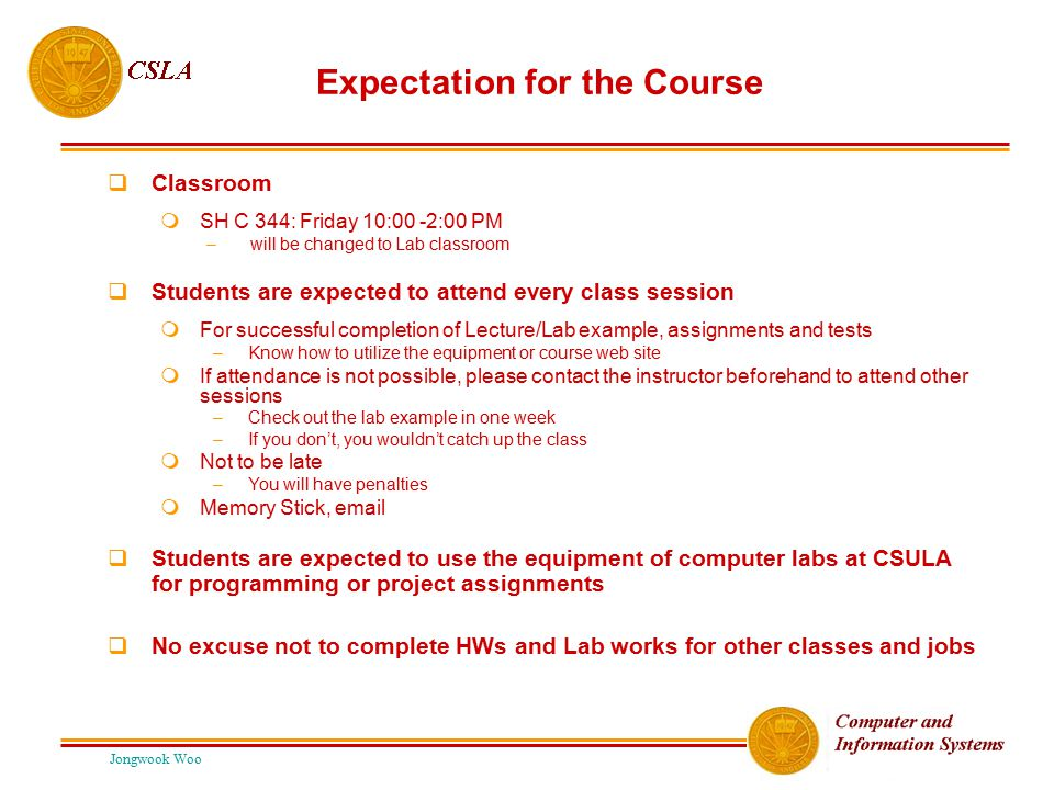 Expectation for the Course