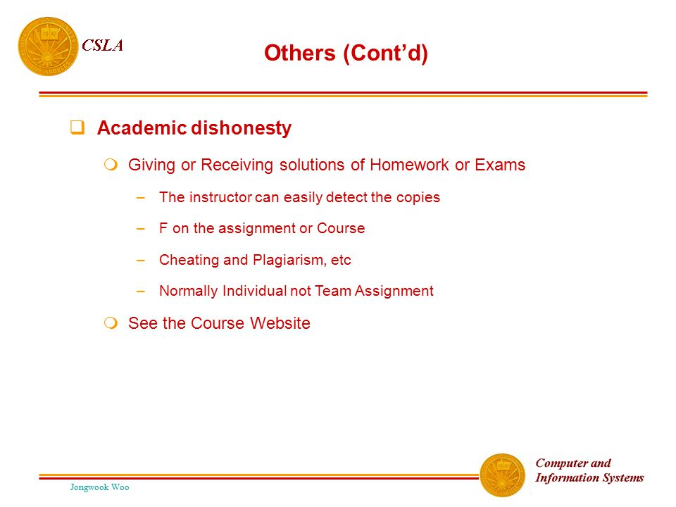 Others (Cont'd) Academic dishonesty