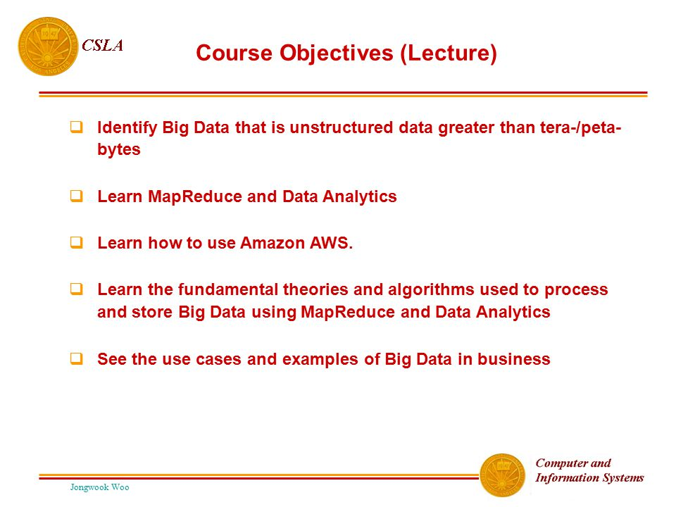 Course Objectives (Lecture)