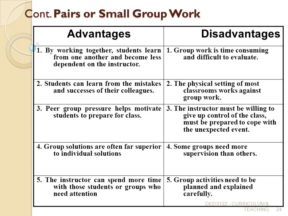 Disadvantage and advantage of working in small group