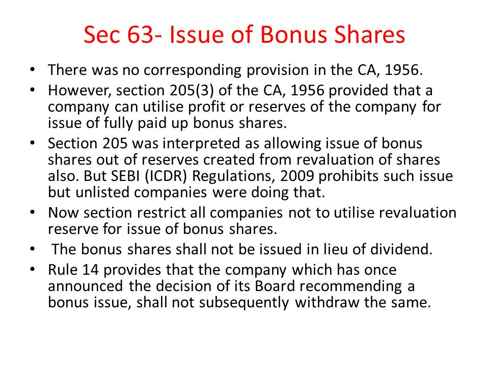 Sec 63- Issue of Bonus Shares