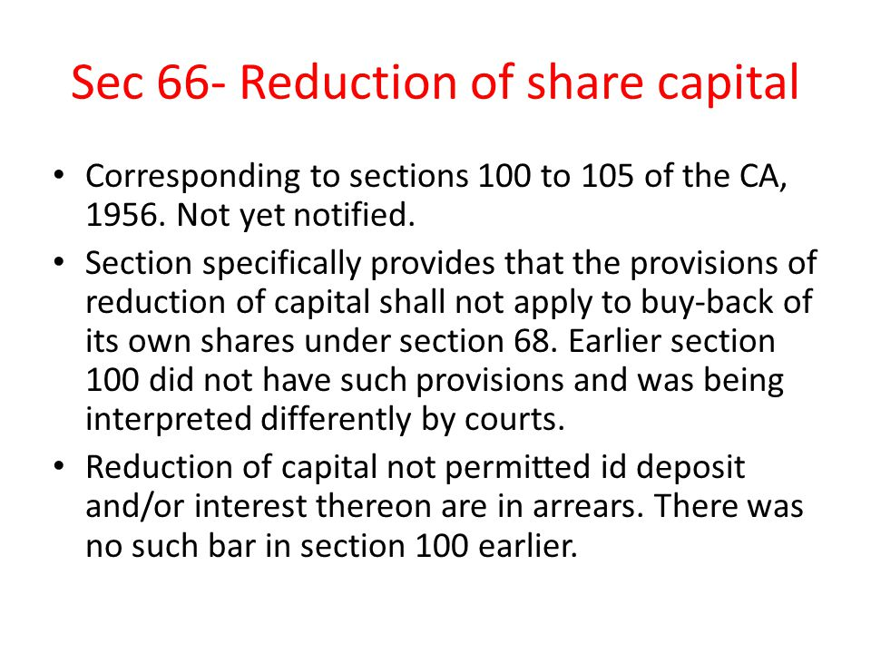 Sec 66- Reduction of share capital