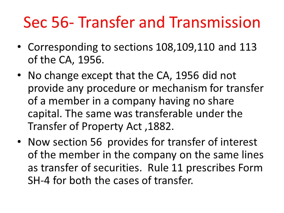 Sec 56- Transfer and Transmission